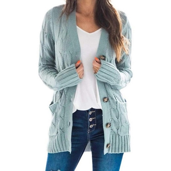 Cable Knit Cardigan Long Sleeve Open Front NEW